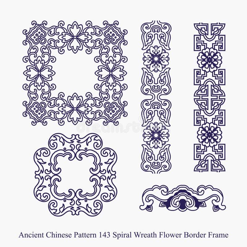 螺旋花圈花边界框架的古老中国样式 皇族释放例证