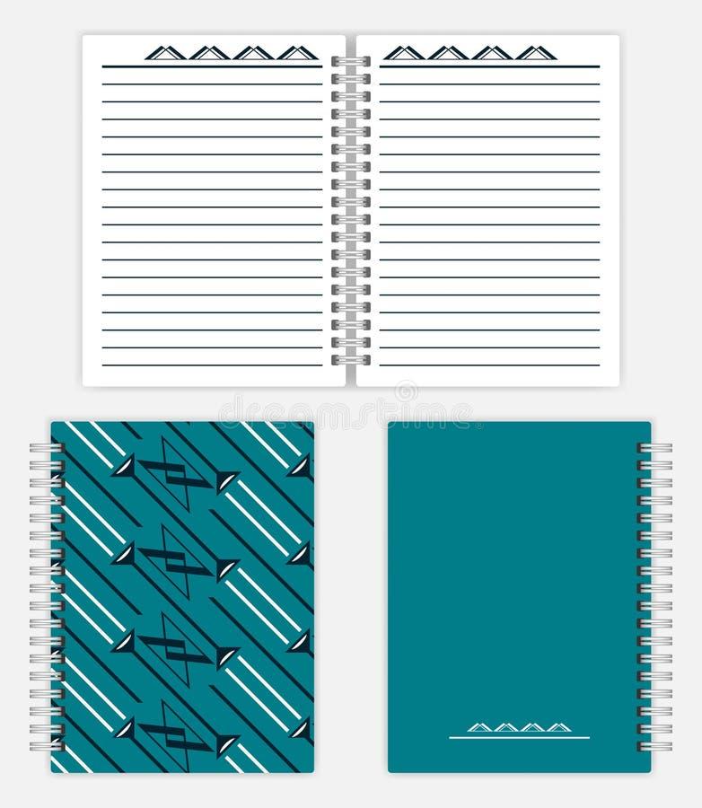 螺旋装订的笔记本大模型设计-传播,前面和后面co 库存例证