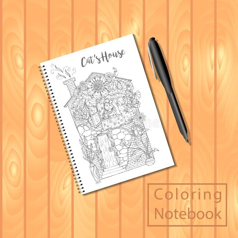 螺旋装订的笔记薄或彩图与图片,猫房子 向量例证