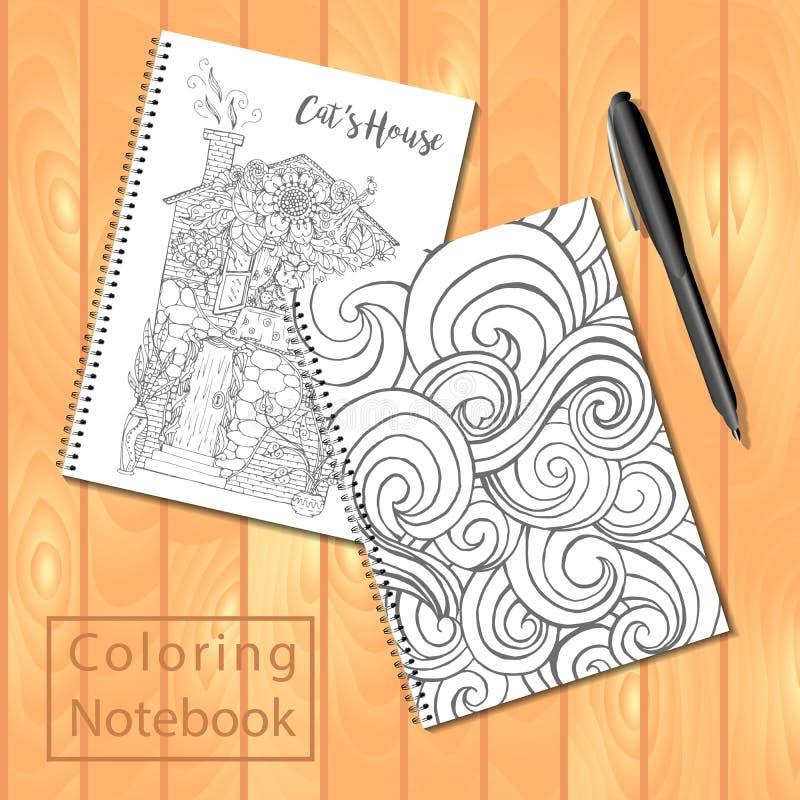螺旋装订的笔记薄或彩图与笔和图片,波浪盖子,猫房子 库存例证