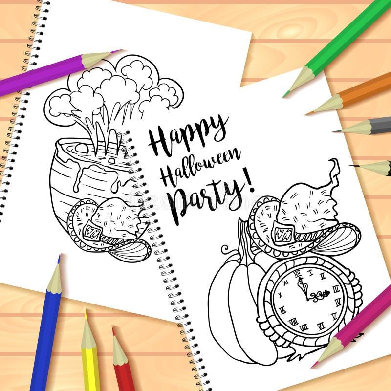 螺旋装订的笔记薄或彩图与铅笔和万圣夜图片 库存例证