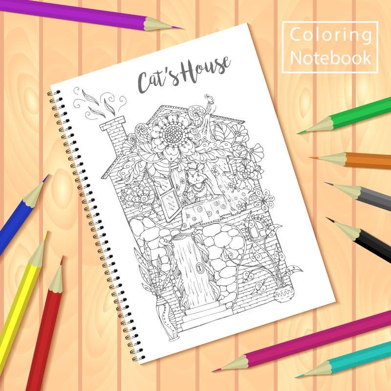 螺旋装订的笔记薄或彩图与铅笔和图片,猫房子 向量例证