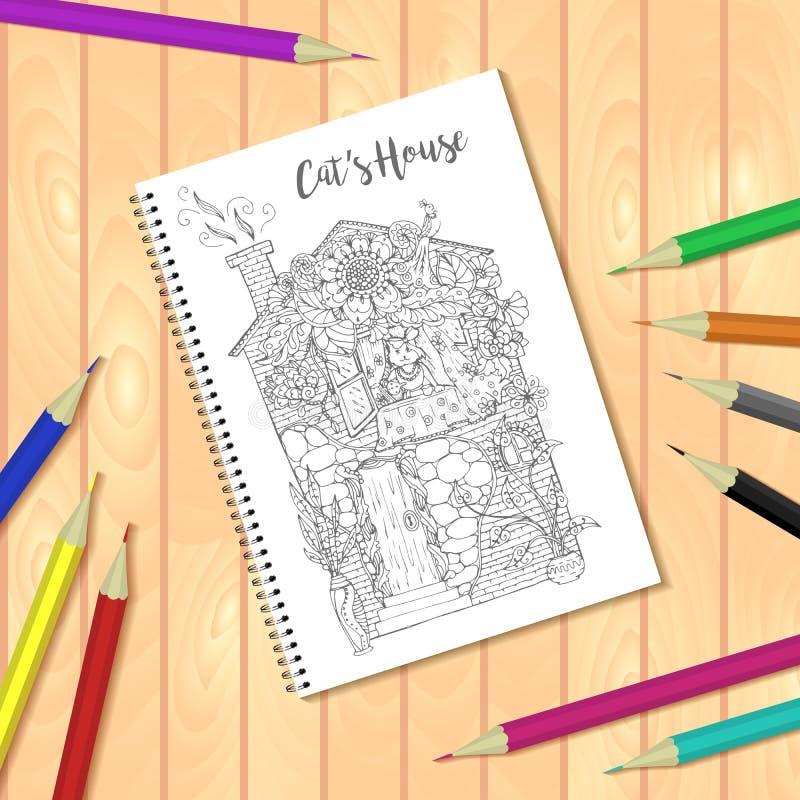 螺旋装订的笔记薄或彩图与铅笔和图片,猫房子 库存例证