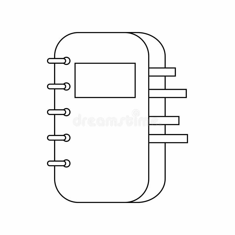 螺旋装订的笔记薄象,稀薄的线型 库存例证