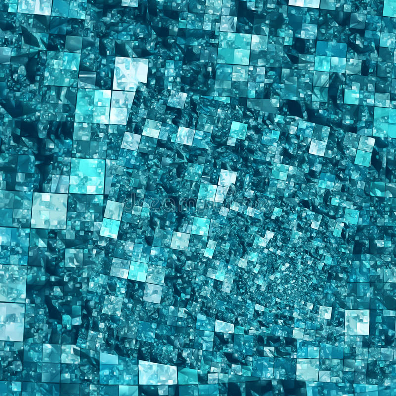 螺旋马赛克背景样式-在蓝色的正方形 免版税库存照片