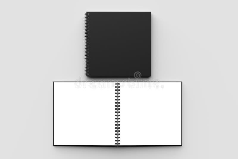 螺旋黏合剂正方形笔记本嘲笑与被隔绝的黑盖子 向量例证