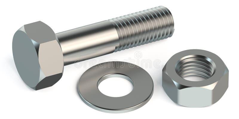 螺栓、坚果和洗衣机 库存例证