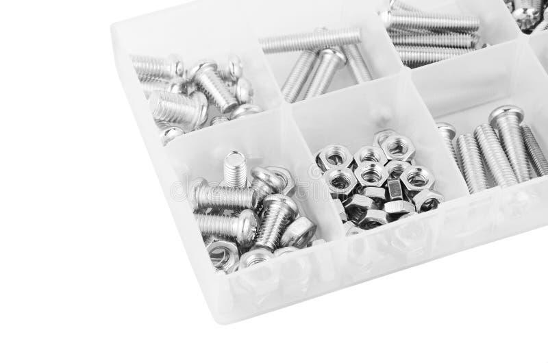 螺栓和坚果在塑料组织者箱子 免版税图库摄影