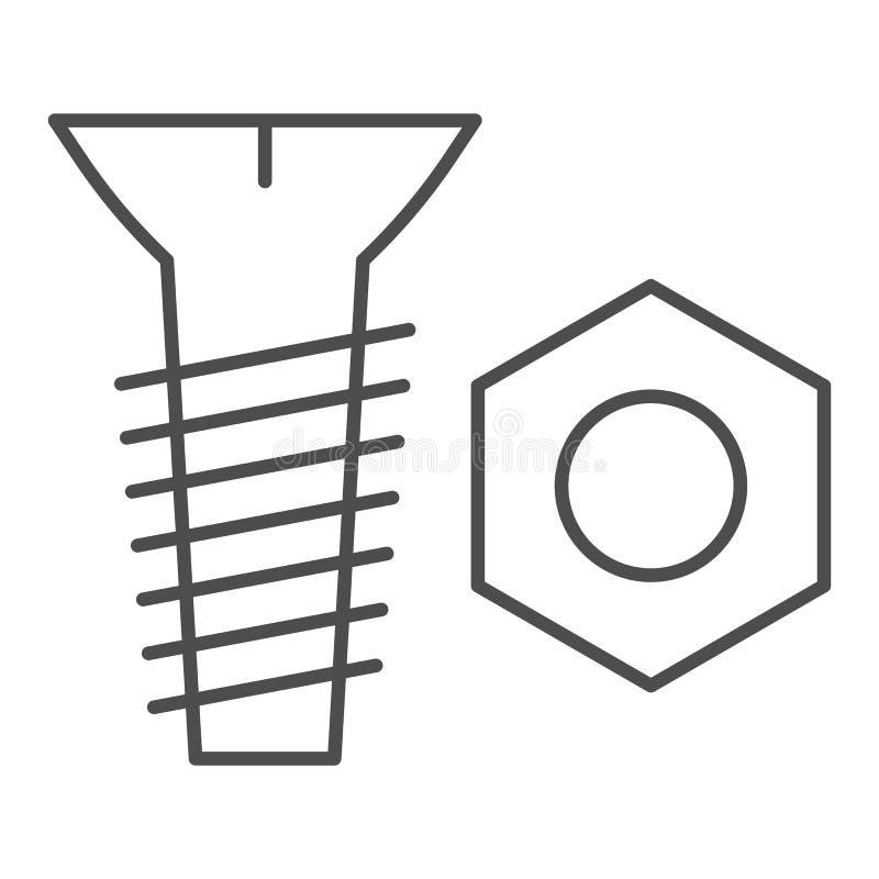 螺栓和坚果稀薄的线象 螺丝和坚果在白色隔绝的传染媒介例证 建筑概述样式设计 皇族释放例证