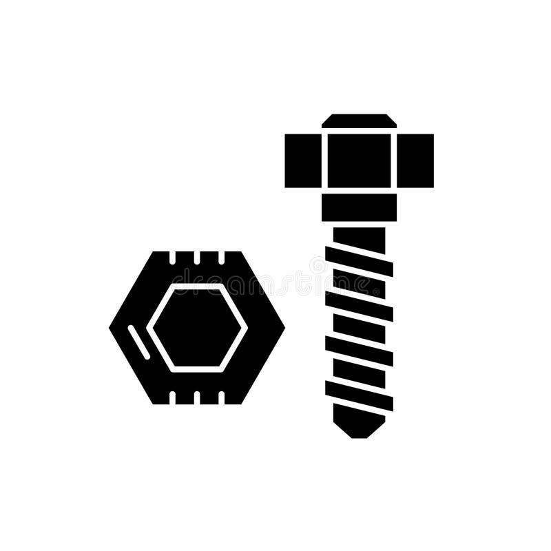 螺栓和坚果黑色象,在被隔绝的背景的传染媒介标志 螺栓和坚果概念标志,例证 皇族释放例证
