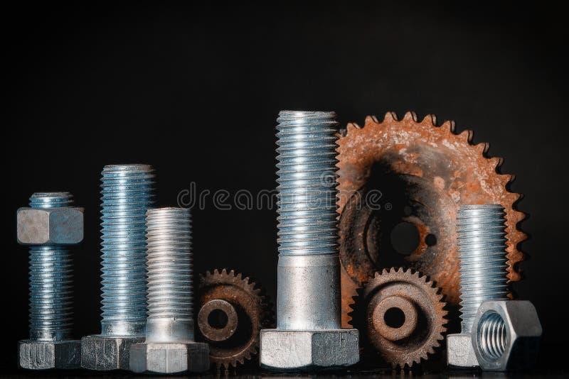 螺栓和齿轮 库存照片