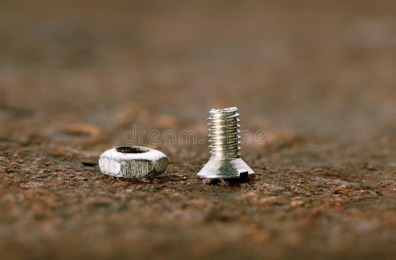 螺栓宏观螺母螺丝 库存照片