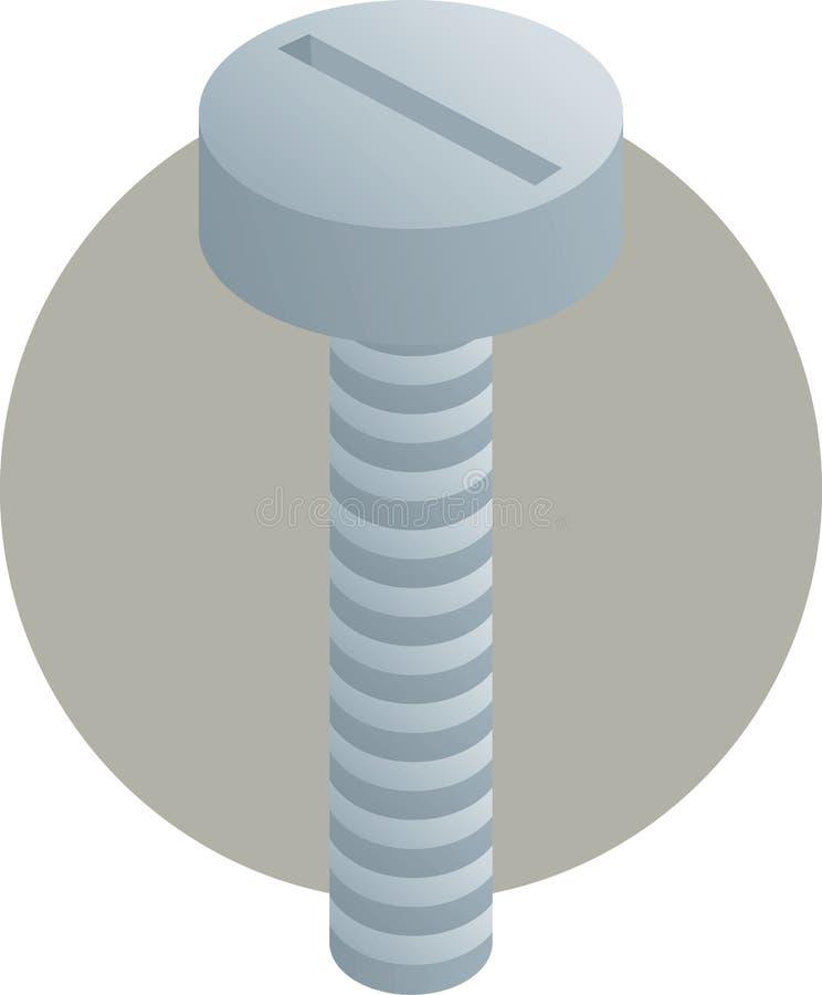 螺栓平面的顶头例证螺丝 皇族释放例证