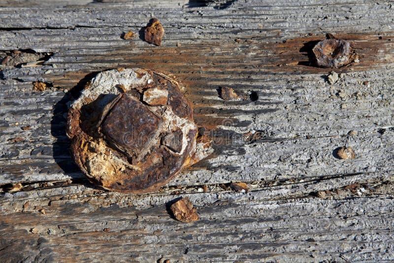 螺栓生锈了木头 免版税库存照片