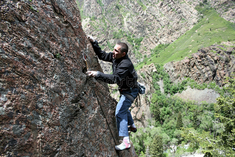 螺栓登山人剪报岩石 免版税库存照片