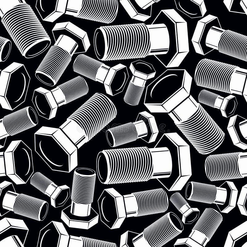 螺栓3d黑白传染媒介无缝的样式 创造性 皇族释放例证
