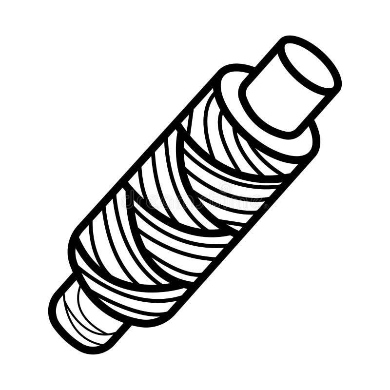螺纹或缆绳短管轴象传染媒介 库存例证