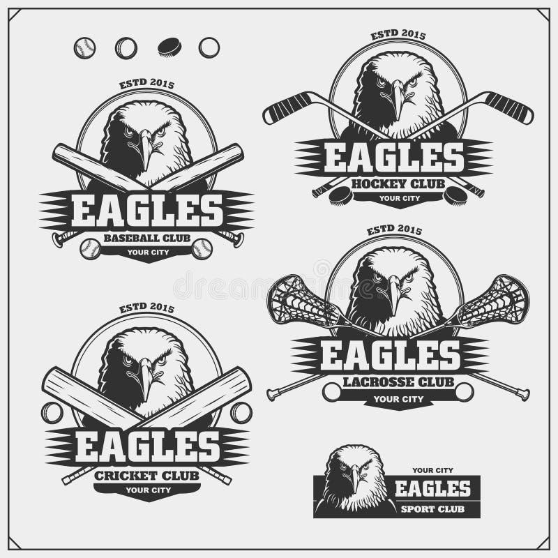 蟋蟀、棒球、曲棍网兜球和曲棍球商标和标签 与老鹰的体育俱乐部象征 向量例证