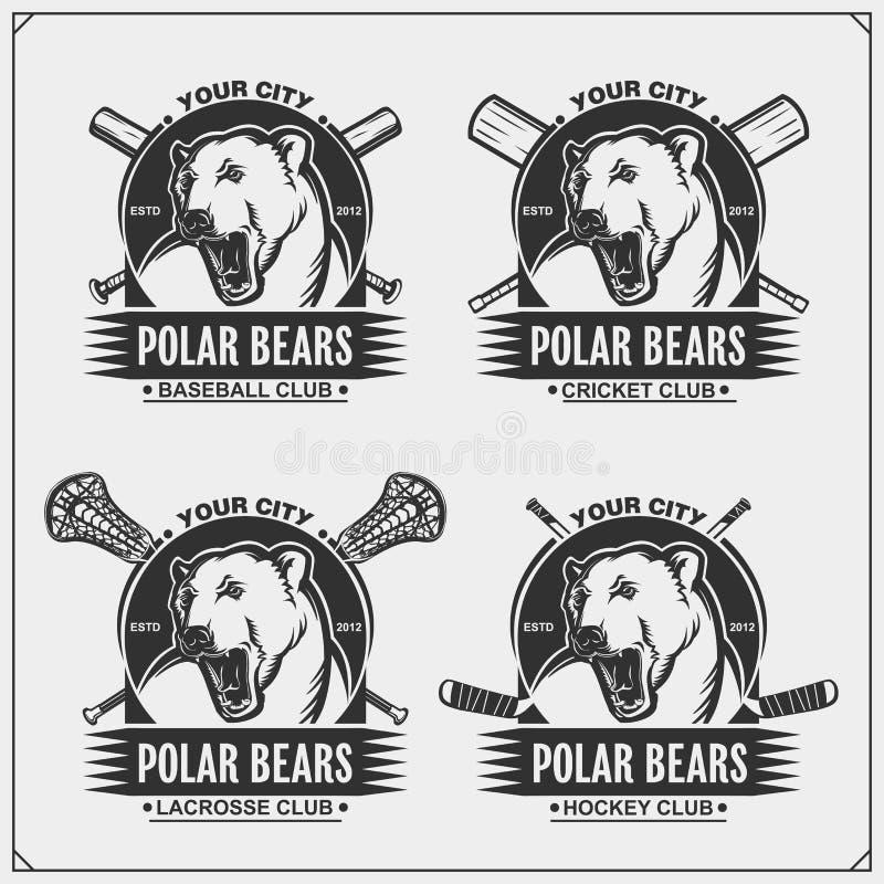 蟋蟀、棒球、曲棍网兜球和曲棍球商标和标签 体育俱乐部象征与北极熊 T恤杉的印刷品设计 皇族释放例证