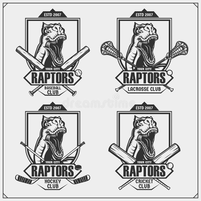 蟋蟀、棒球、曲棍网兜球和曲棍球商标和标签 体育俱乐部象征与猛禽恐龙 r 向量例证