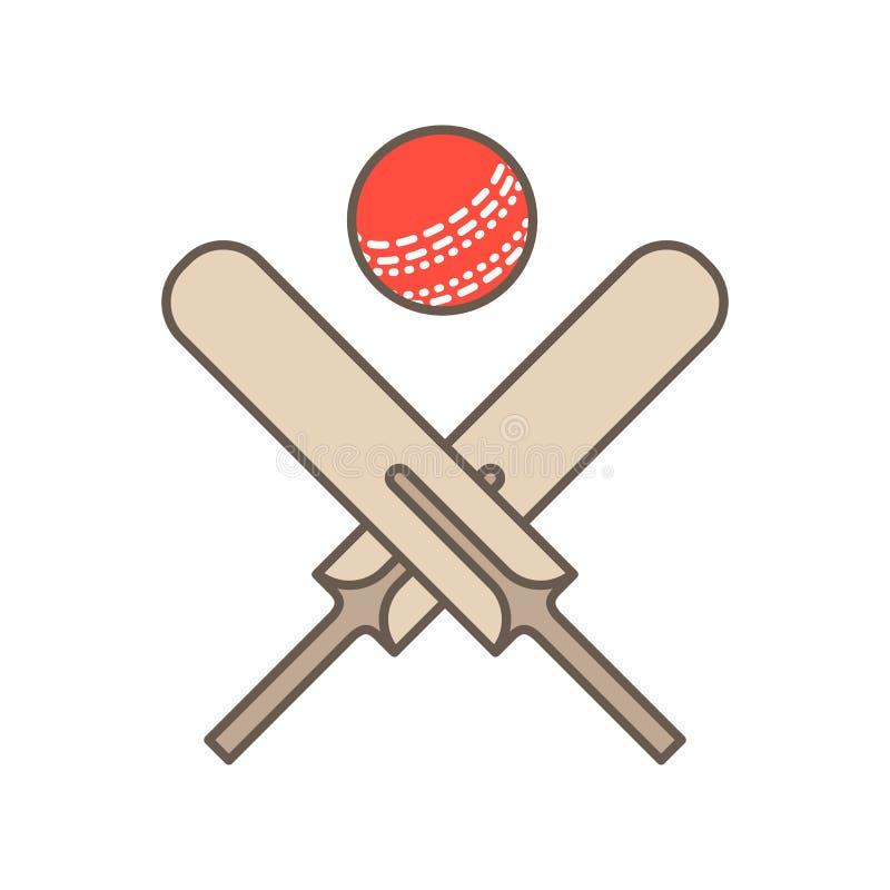 蟋蟀传染媒介线象 棒和球商标,设备标志 体育竞赛例证 向量例证