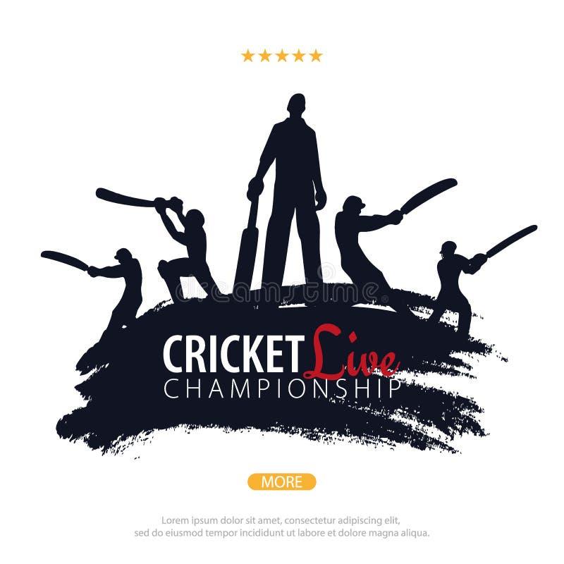 蟋蟀冠军横幅或海报、设计与球员和棒 也corel凹道例证向量 皇族释放例证
