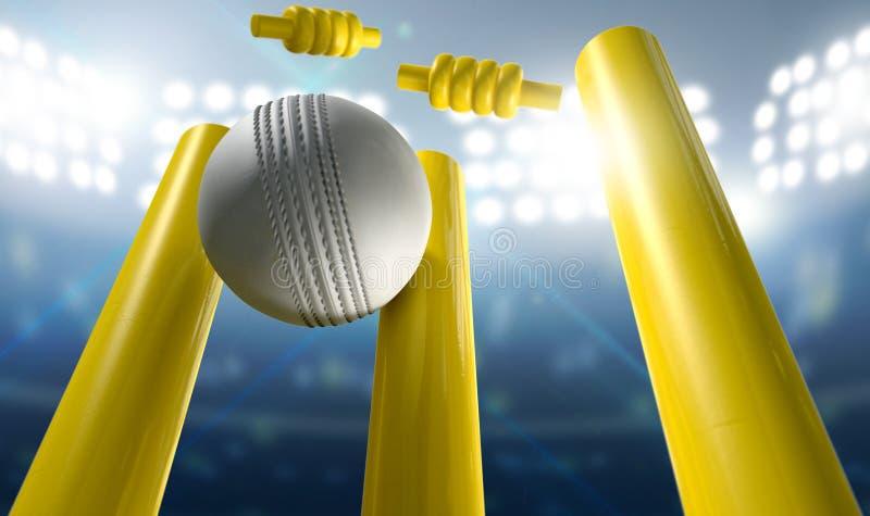蟋蟀小门和球在体育场内 库存例证