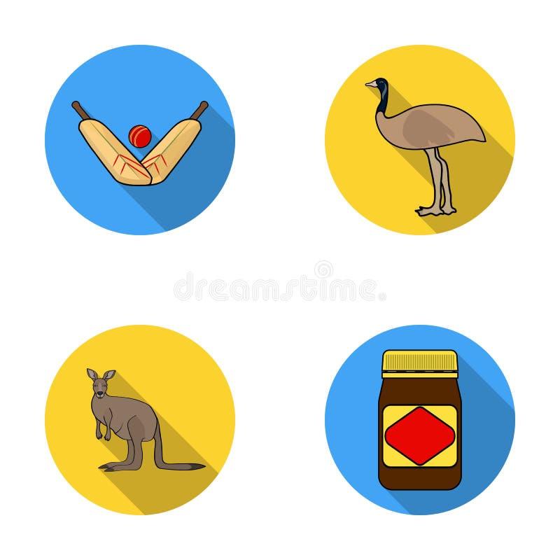 蟋蟀比赛,鸸驼鸟,袋鼠,普遍的食物 在平的样式的澳大利亚集合汇集象导航标志 皇族释放例证