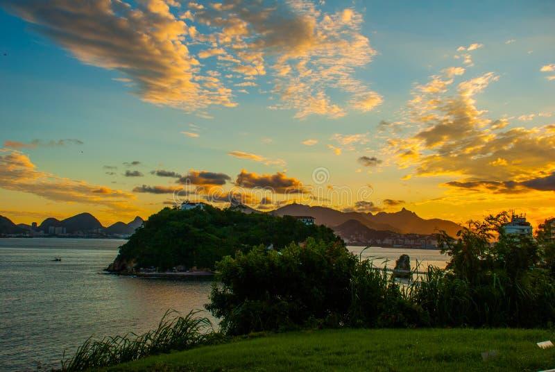 蟒蛇Viagem海岛,尼泰罗伊,里约热内卢,巴西状态  免版税库存图片