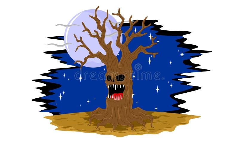 蠕动万圣夜老的树 皇族释放例证