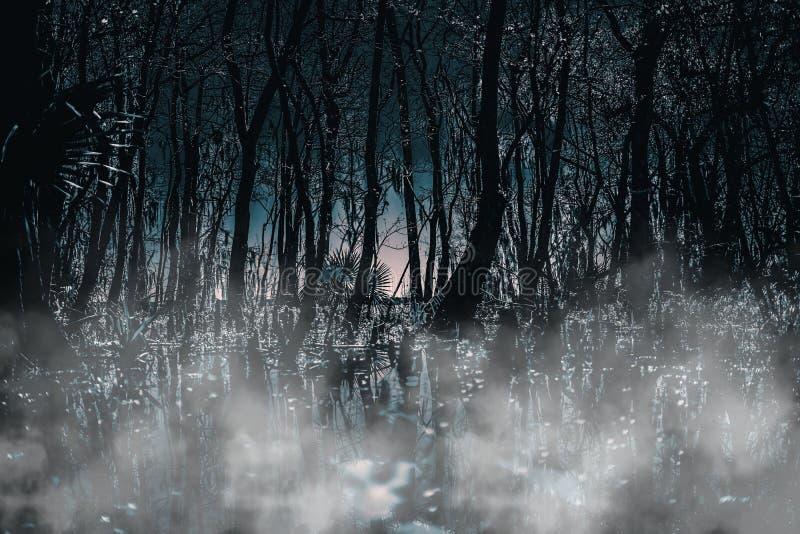 蠕动的哥特式被月光照亮有雾的森林在晚上 伟大为恐怖,哥特式,蠕动和可怕项目 免版税库存图片