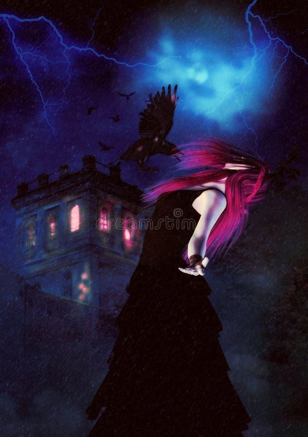 蠕动的夜城堡和巫婆 库存例证