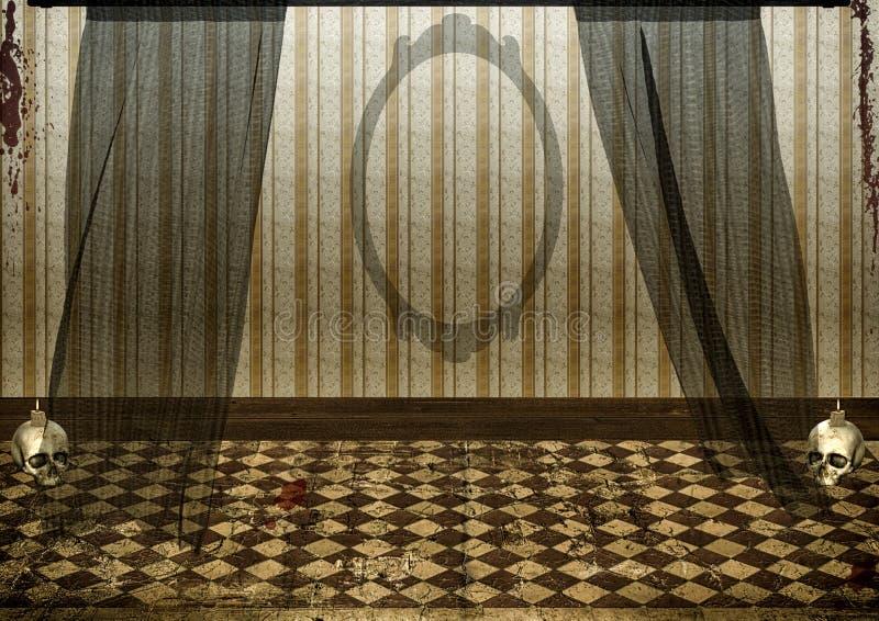 蠕动被放弃的室背景 库存例证