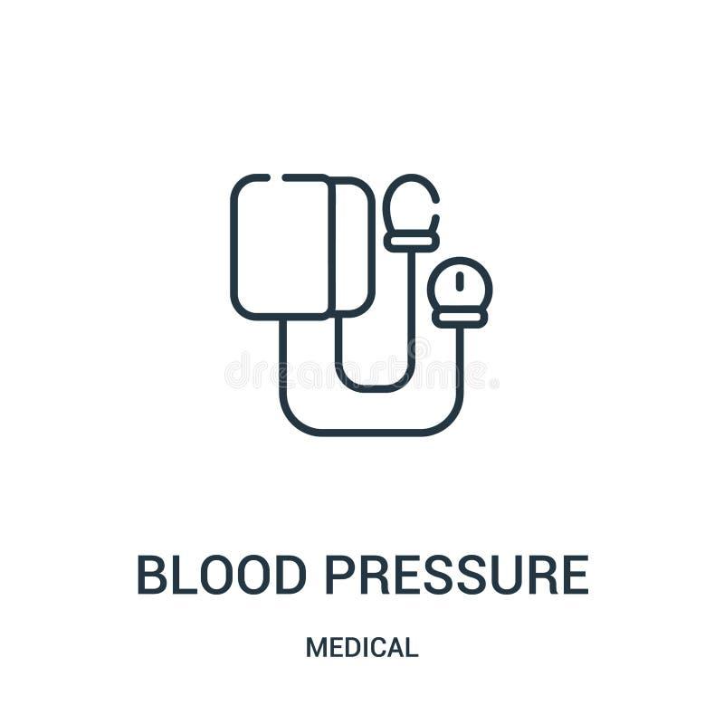 血压从医疗收藏的象传染媒介 稀薄的线血压概述象传染媒介例证 库存例证