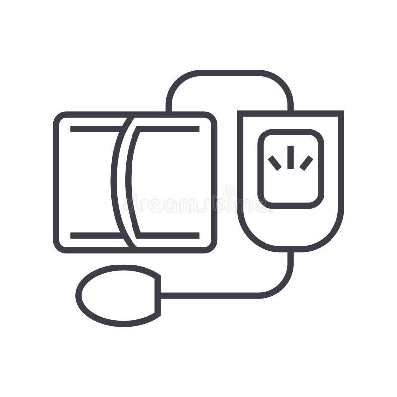 血压测量仪,测度向量线象,标志,在背景,编辑可能的冲程的例证 向量例证