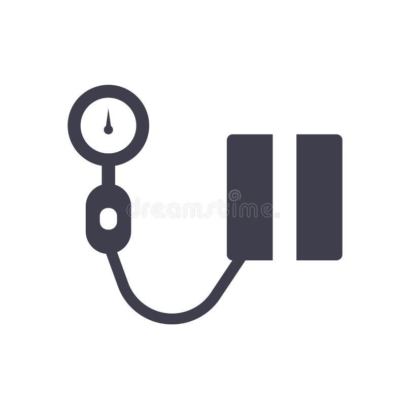 血压象在白色背景和标志隔绝的传染媒介标志,血压商标概念 皇族释放例证