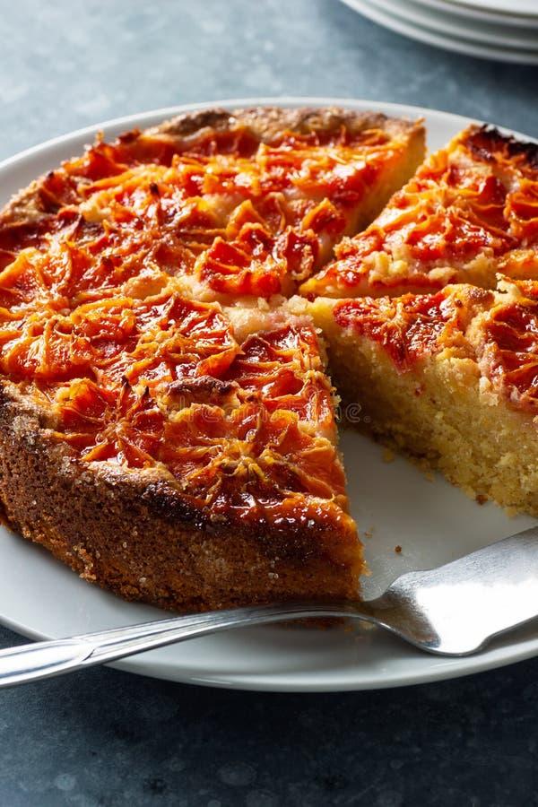血橙杏仁与切片的柑橘蛋糕 免版税库存图片