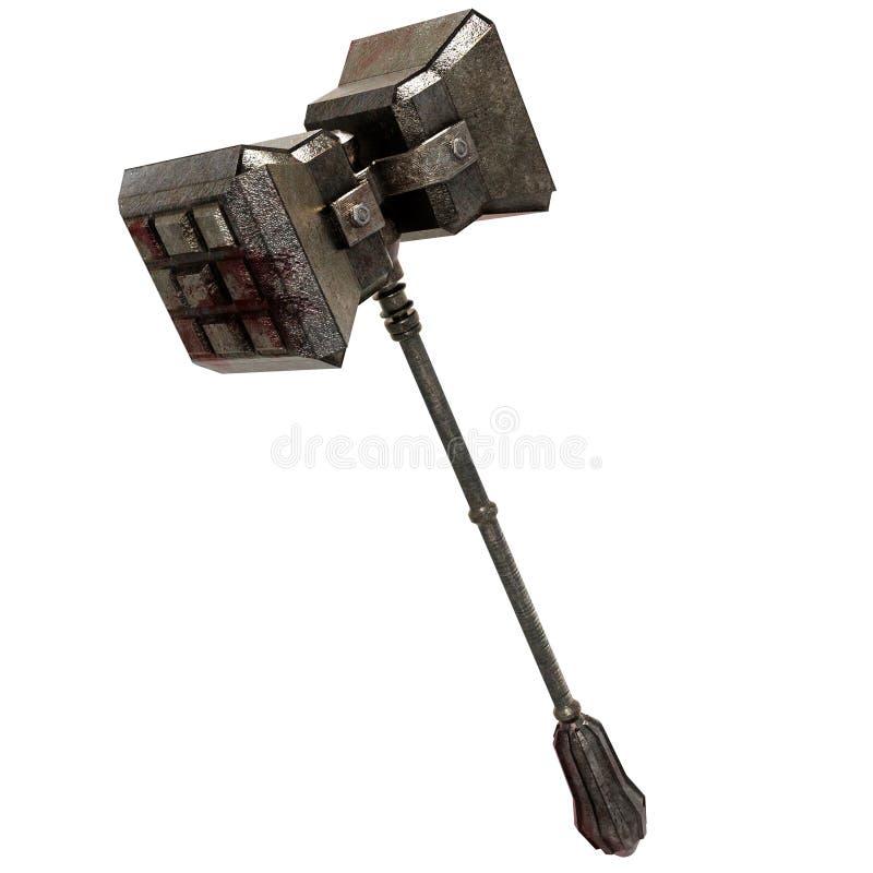 血污的铁战争锤子武器 向量例证