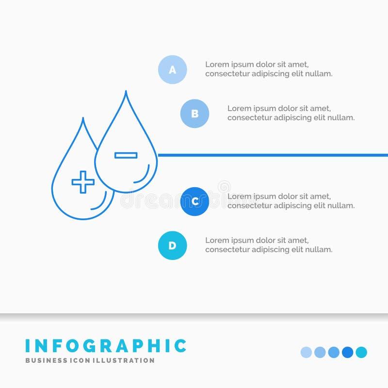 血液、下落、液体、加号、减去Infographics模板网站的和介绍 r 库存例证