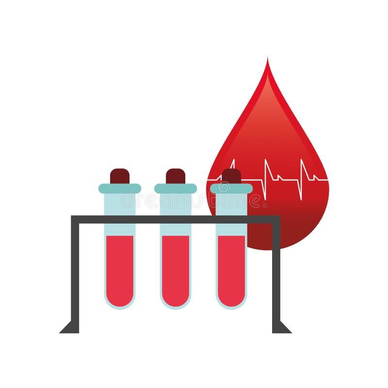 血液下落心电图和试管象 向量例证