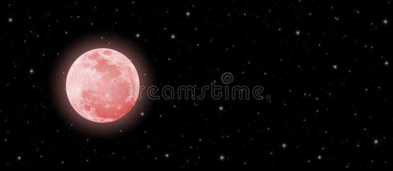 血液在黑暗的夜空横幅的月亮和闪光星 库存照片