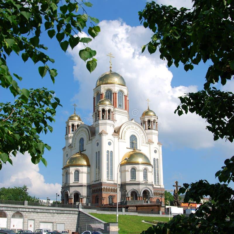 血液教会ekaterinburg俄国 免版税库存照片