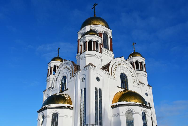 血液的教会以纪念诸圣日灿烂在皇帝尼古拉二世的施行俄国土地—地方  库存图片