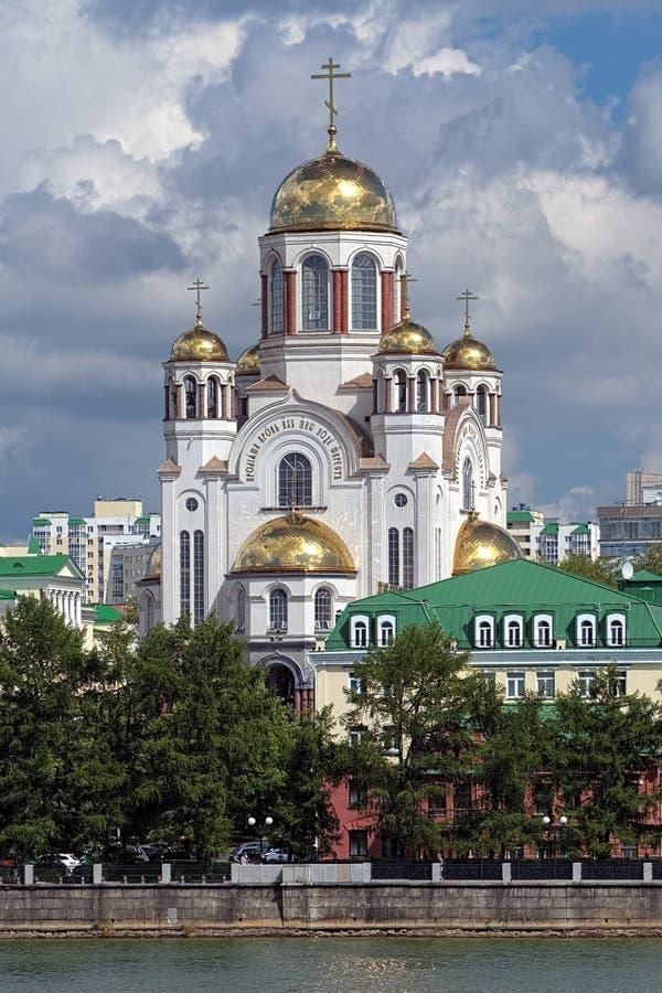 血液的教会在Yekaterinburg,俄国 免版税库存图片