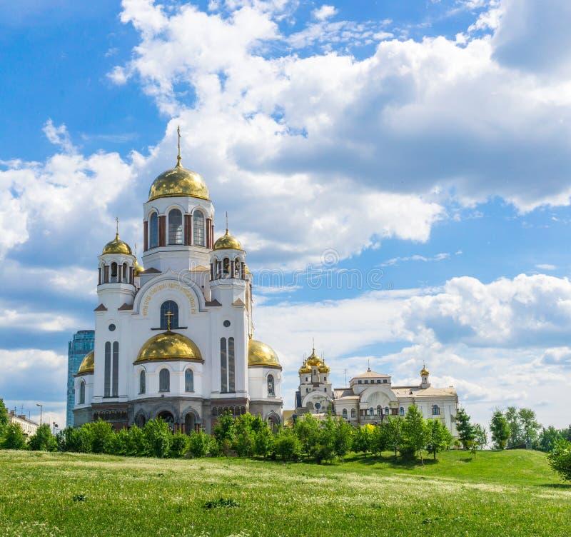 血液的教会以纪念诸圣日灿烂在俄罗斯,叶卡捷琳堡 免版税库存照片