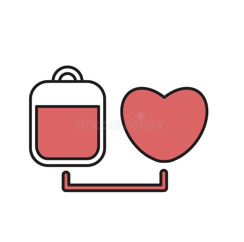 血液袋子和心脏, transfuion 动画片设计象 平的传染媒介例证 背景查出的白色 皇族释放例证