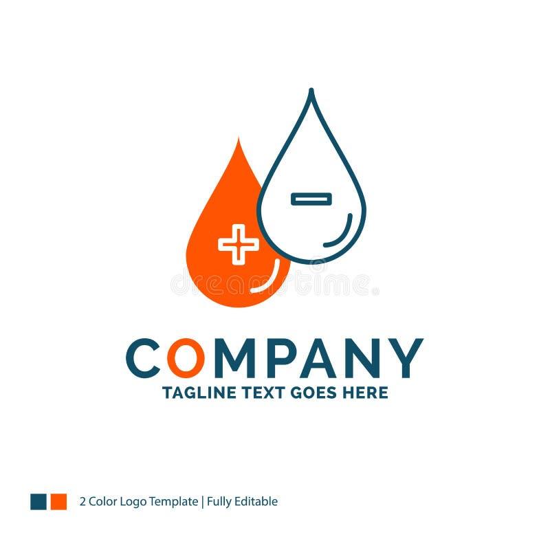 血液,下落,液体,加号,减去商标设计 蓝色和橙色增殖比 向量例证