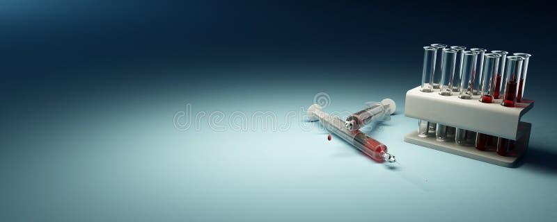 血液flacks实验室许多注射器 皇族释放例证