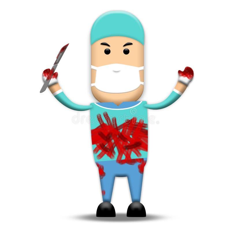 血淋淋的外科医生 库存例证