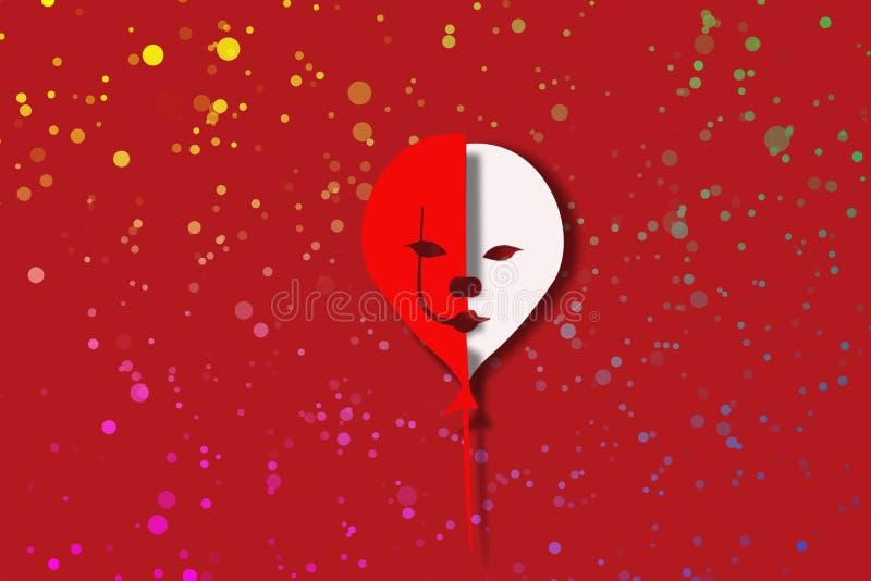 血淋淋的小丑微笑 库存例证